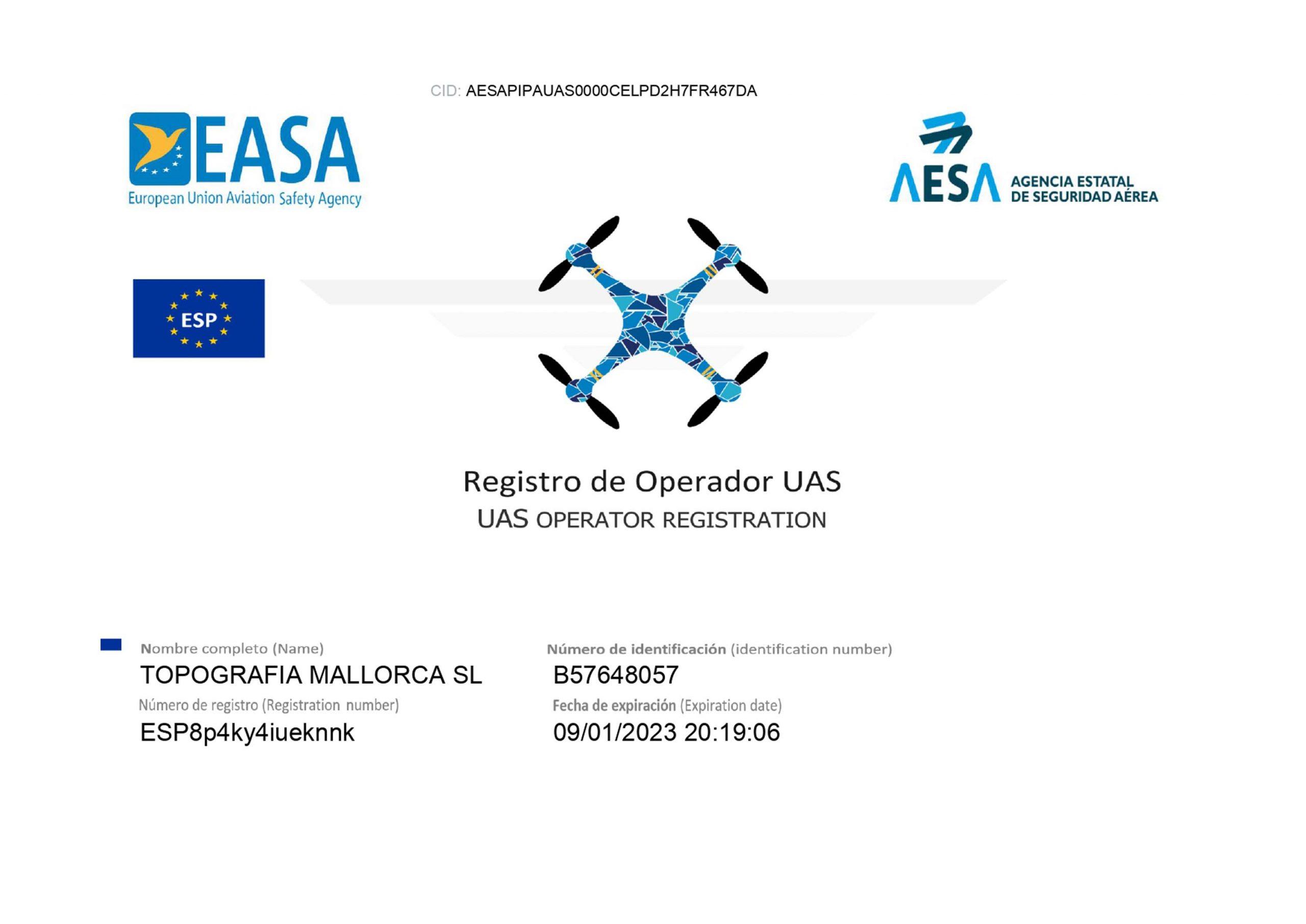 certificado operaqdor europeo topografia mallorca